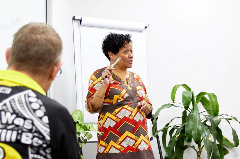 Kin CEO facilitating a training session